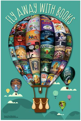 Fly Away with Books free poster download...try this for your bulletin board using book covers from your library