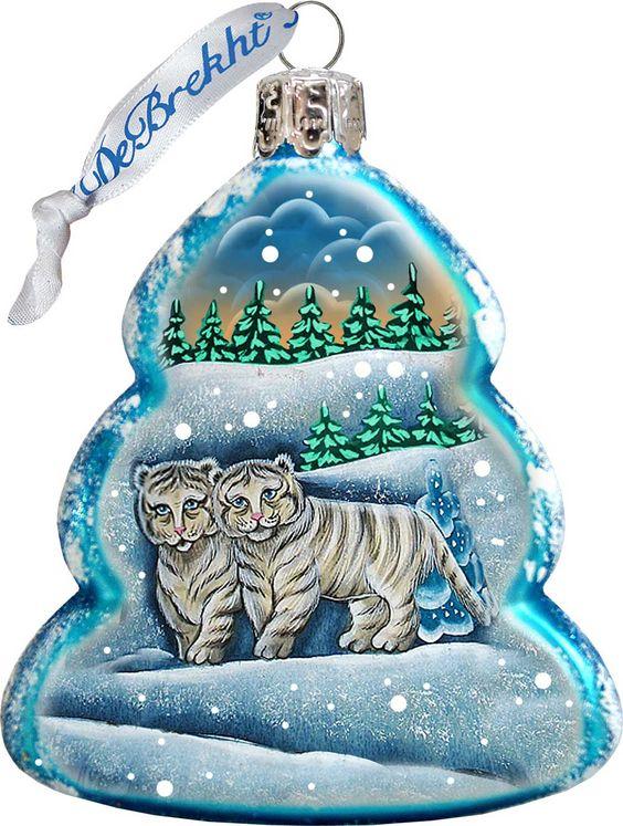 Keepsake Santa's White Tiger Cubs Scenic Glass Ornament