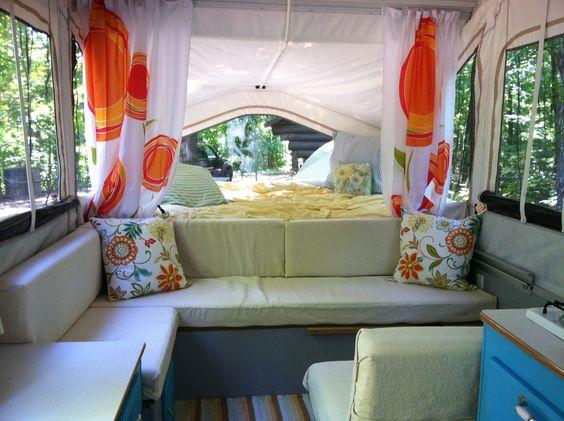 Pop up camper remodel i love the colors here lt blue for Pop up camper interior designs