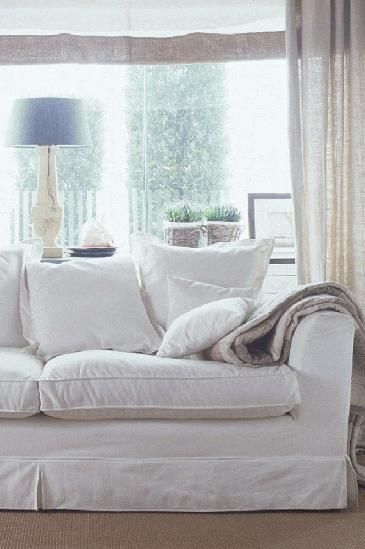 White Couch Living Room Decor: White Sofa And Linen Curtains - Living Room