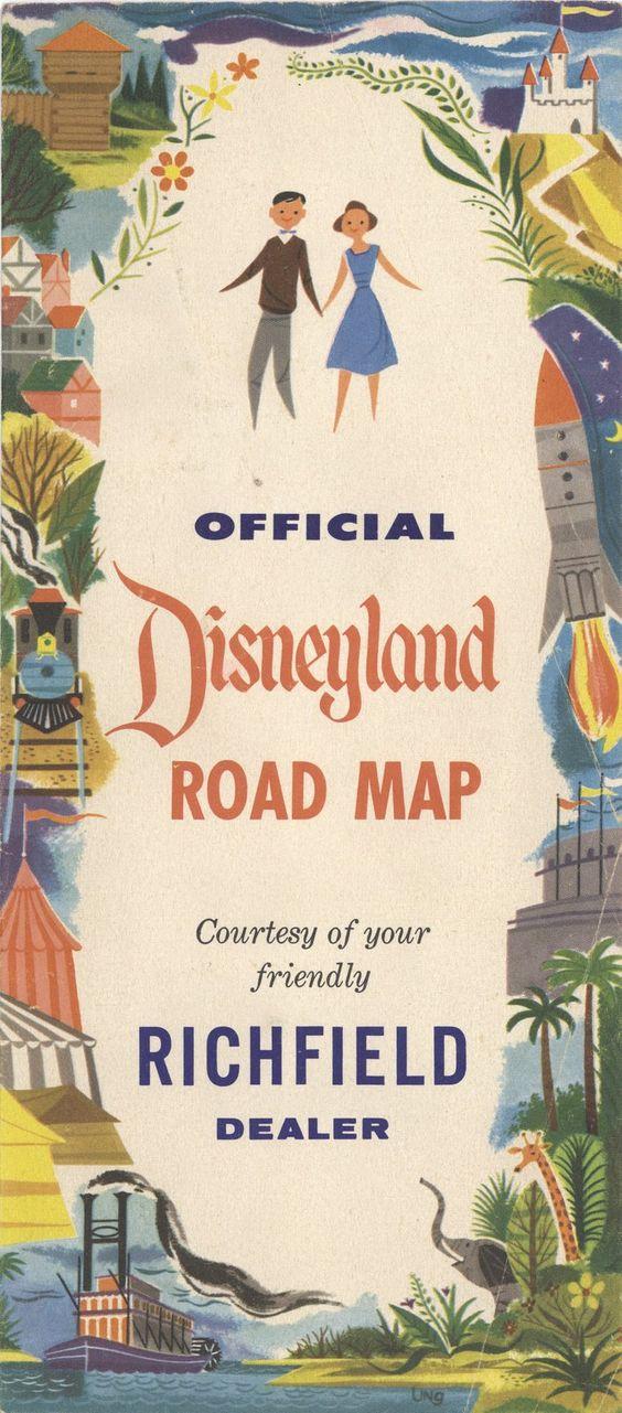 vintage Disneyland road map