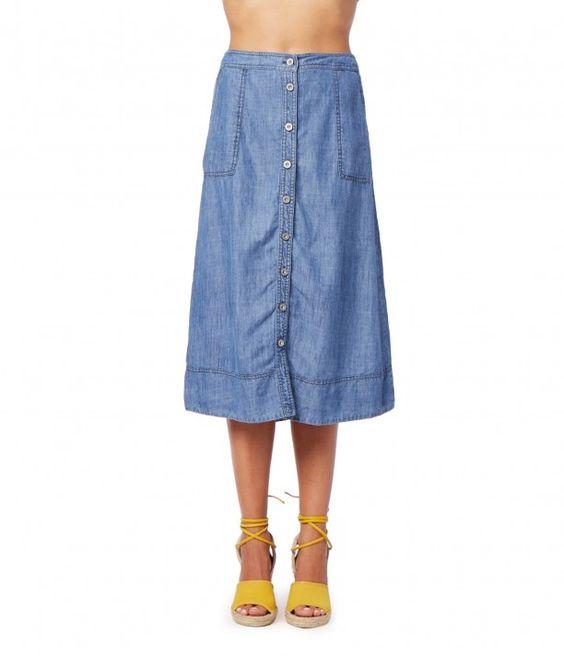 Linen Denim Tencel Midi Skirt - New Arrivals   Michael Stars