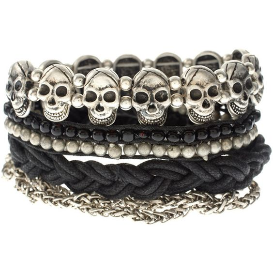 ASOS friendship bracelet pack with chains and skulls