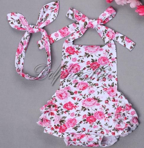 Newborn-Baby-Girls-Infant-Toddler-2PCS-Floral-Romper-Jumpsuit-Headband-Clothes