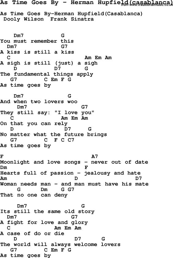Song As Time Goes By by Herman Hupfield(casablanca), with lyrics for vocal performance and accompaniment chords for Ukulele, Guitar Banjo etc.