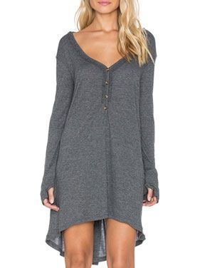 Casual Deep V-Neck Long Sleeve Dress in Pure Color