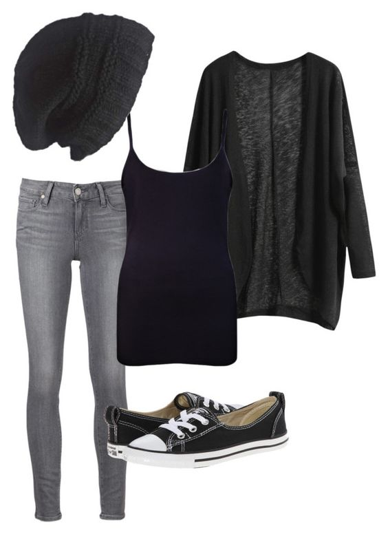 Untitled #111 by panda-artist on Polyvore featuring WearAll, Paige Denim, Converse and Laundromat