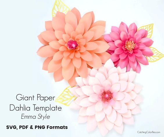 Giant Dahlia Flower Template Emma Style Paper Flowers Paper Roses Large Paper Flowers