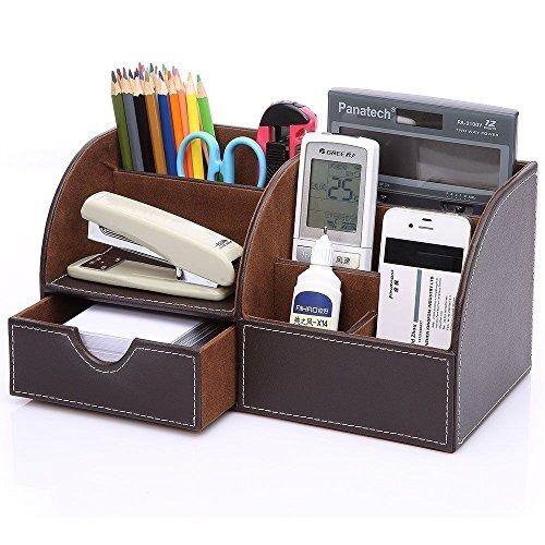 Kingom 7 Storage Compartments Multifunctional Pu Leather Office Desk Organizer Desktop Stationery S Cartonagem Ideias De Decoracao E Organizacao Mdf Artesanato