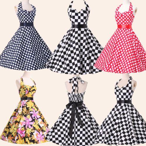 New-Abito-Donna-Vintage-Anni-Vestito-50-da-Ballo-Swing-Pin-up-Vestiti