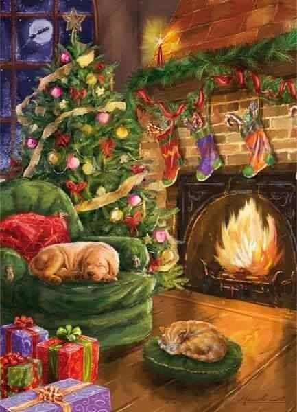Decorated Home With Christmas tree Hung Stockings, and a dog and cat curled up near the fireplace