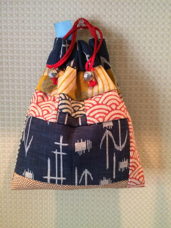 Kinchaku - Japanese style handy sack. Yellow/Red color on top makes it a cute impression.