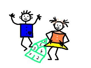 Kinderzeichnung - Kinder, Zeichnung, Strichzeichnung, Gestaltung, Zahlenhaus, Mathematik, rechnen, Verb, spielen, Anlaut K, Illustration, Junge, Mädchen