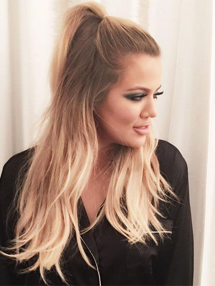 Long hairstyles , Khloe Kardashians high, half,up ponytail