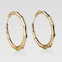 GUCCI Jewelry Bamboo Hoop Earrings 18kt Yellow Gold. I have the silver ones but I want those!!