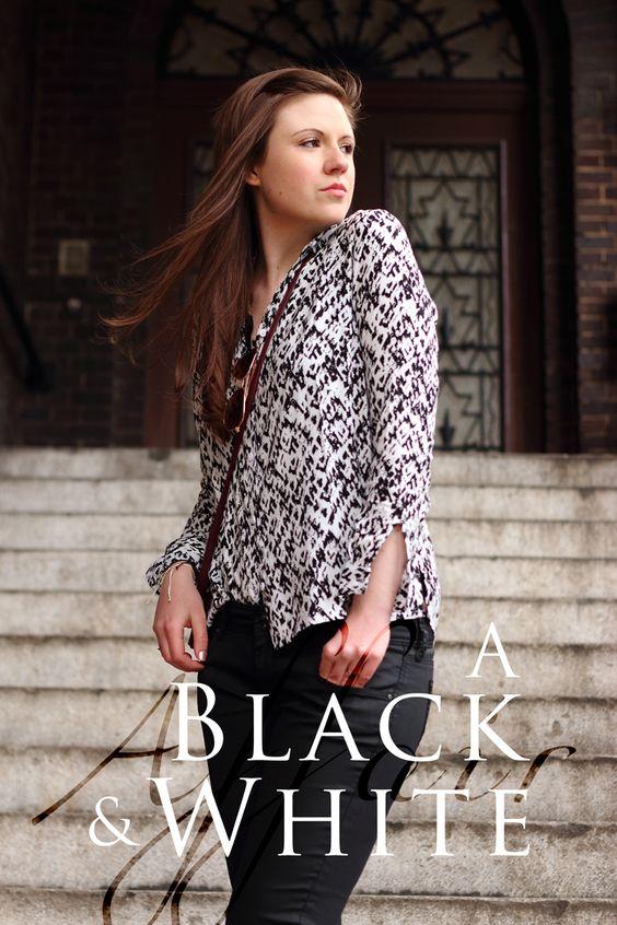 A black and white affair | black and white outfit - schwarz-weiß gemusterte Bluse von H&M | schwarze Jeans von Mavi | bordeauxfarbige Umhängetasche von Pull and Bear | justmyself