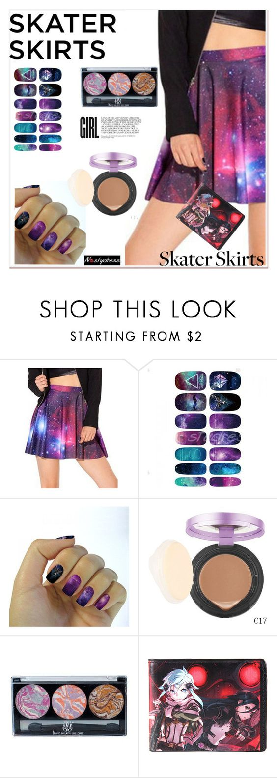 """""""Skater Girl"""" by paculi ❤ liked on Polyvore featuring Kirito, women's clothing, women, female, woman, misses, juniors, skaterskirt and nastydress"""