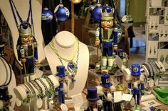 https://flic.kr/p/B4BNfZ | Seahawk Display 3 | Part of the display of my Seahawk inspired ornaments, nutcrackers and jewelry for sale at Grassi's Boutique here in University Place, WA.