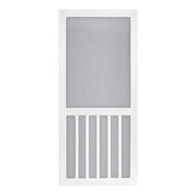Screen Tight 30 In X 80 In Solid Vinyl White 5 Bar Screen Door