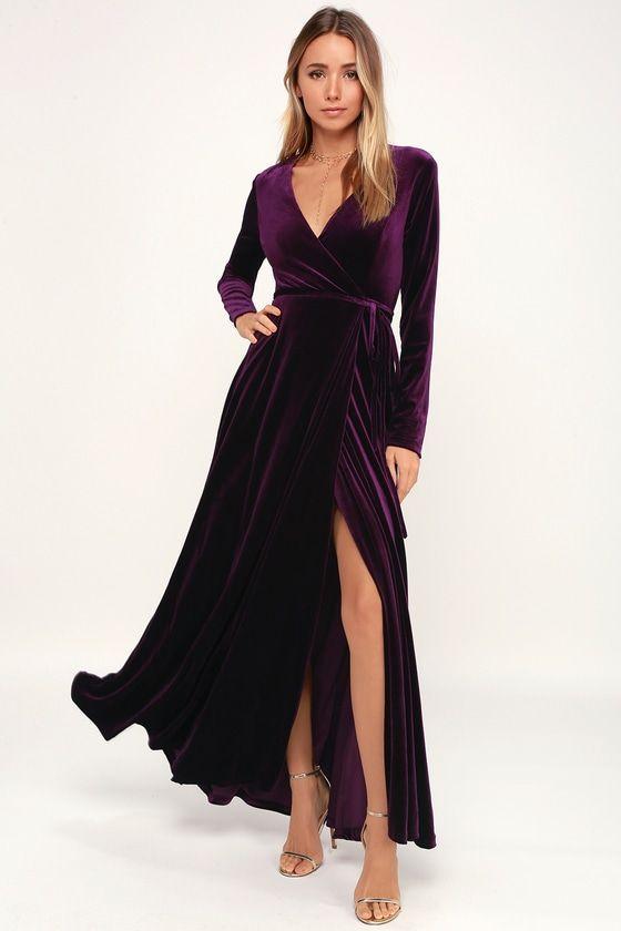 Jacinda Plum Purple Velvet Wrap Maxi Dress In 2020 Long Sleeve Bridesmaid Dress Velvet Dress Long Purple Maxi Dress