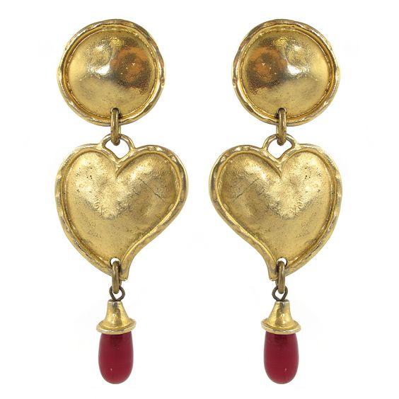 French Vintage Signed 'Edouard Rambaud Paris' Heart Earrings c.1980