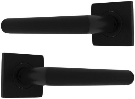 Poignée de porte réversible design en métal noir sur rosace carrée