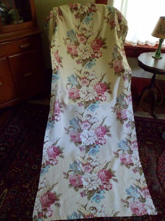 "Vintage 1940's Floral Barkcloth Curtain/Drape Pleated Panel 82""x 33-1/2"" #2"