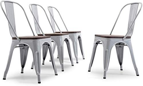 Amazing Offer On Belleze Metal Industrial Stackable Bistro Dining Chairs Set 4 Wood Seat Cafe Bar Home Stool Modern Style Silver Online Thepopbeautiful In 2020 Dining Chairs White Dining Chairs Metal Dining Chairs