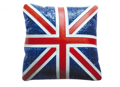 CUSCINO 29X29 PAILLETTES ENGLAND. Cuscino in pelle blu con rappresentazione della bandiera inglese con paillettes