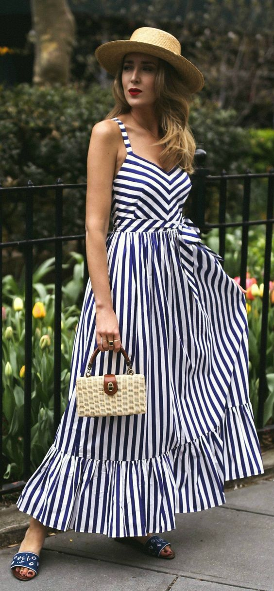 What to Wear to a Picnic // navy and white stripe maxi dress, embroidered navy slides, small woven box bag, straw bolero hat {jcrew, Janessa Leone, Veronica Beard, summer style, fashion blogger}