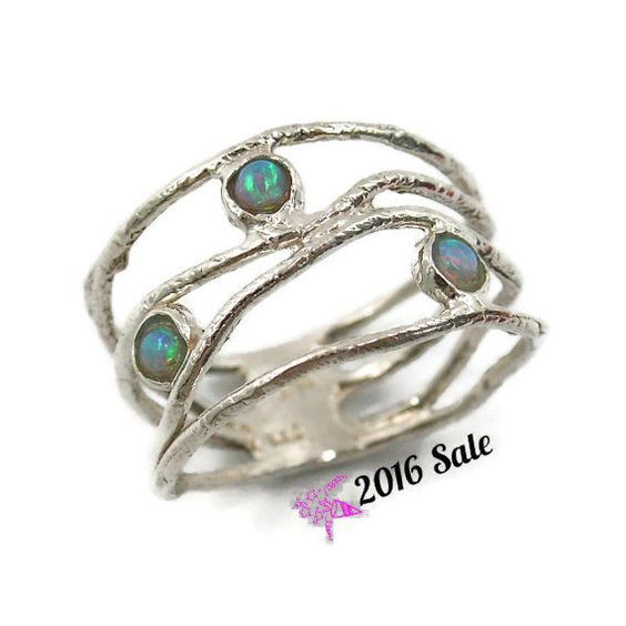 Opalring. Sterling Silber Opalring. Wave-Ring von STarLighTstudiO3