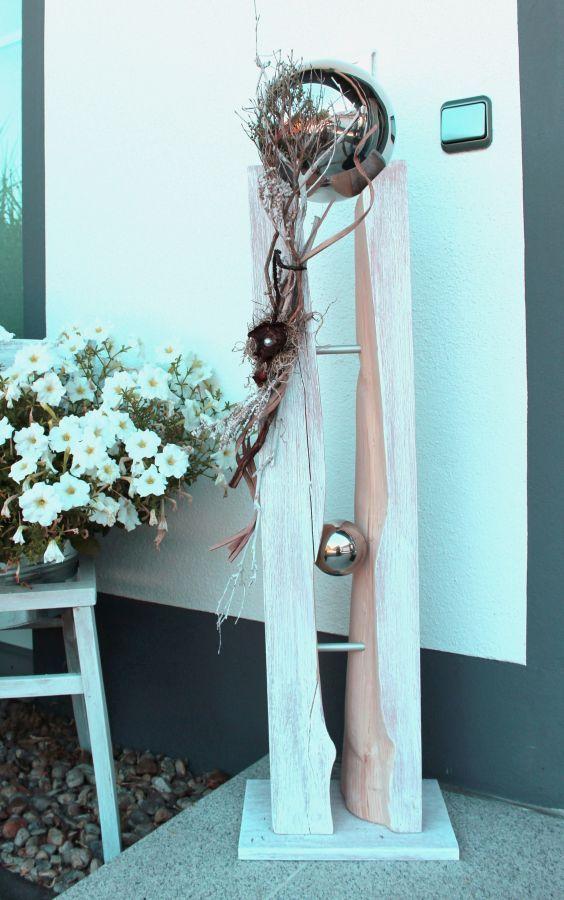 GS55 – Große Säule für Innen und Außen! Große gespaltene Säule, natürlich dekoriert mit einer großen Edelstahlkugel die herausnehmbar ist! Preis 109,90€ – Höhe 110cm