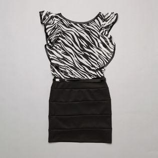 Amy's Closet- -Girl's Dress Zebra U-Neck Short Sleeves Black