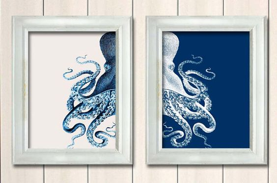 Set of 2 Octopus Prints Blue And White, Nautical Print Beach Decor bathroom Decor Beach House Decor Octopus Illustration Digital Painting