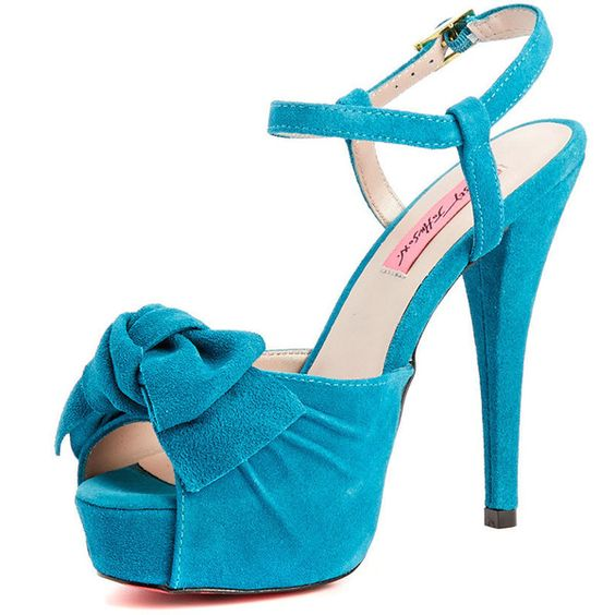 Betsey Johnson Heels ($39) ❤ liked on Polyvore featuring shoes, pumps, betsey johnson, blue shoes, blue pumps, betsey johnson pumps and betsey johnson footwear