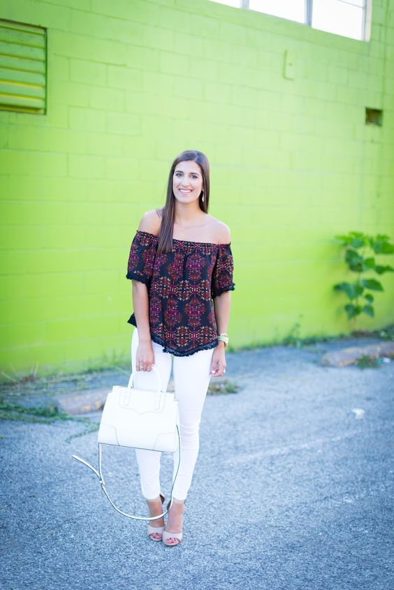 Patterned Off the Shoulder Top - A Southern Drawl