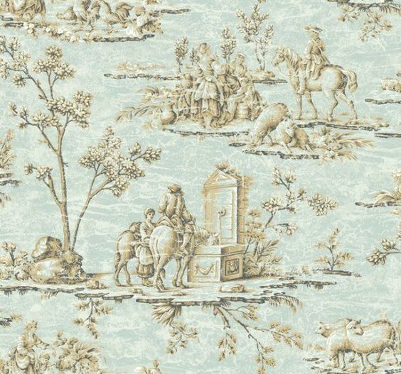 Designer Blue & Antique Gold Historic French Toile Wallpaper #York