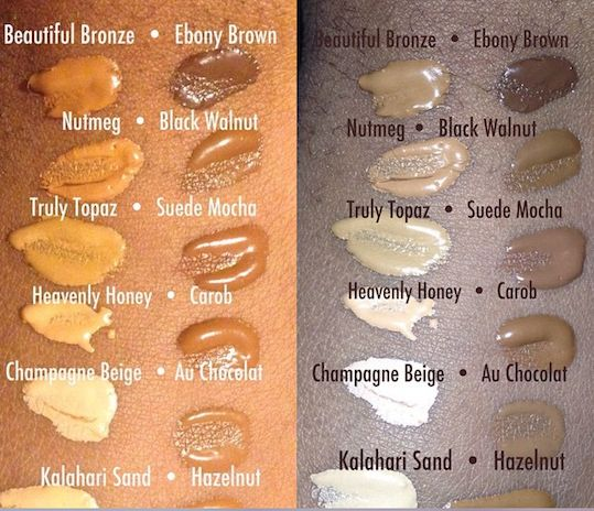 True Color Pore Perfecting Shade Swatches From Social Media Mua Toi 12 Shades True To Tone Color Black Opal Makeup Foundation Shades Shade Swatches