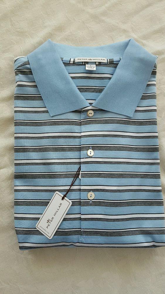 New  Peter Millar Polo Golf Shirt stripes 100% cotton NWT Sz LG #PeterMillar #PoloRugby