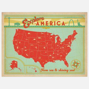 Explore America Map 24x18