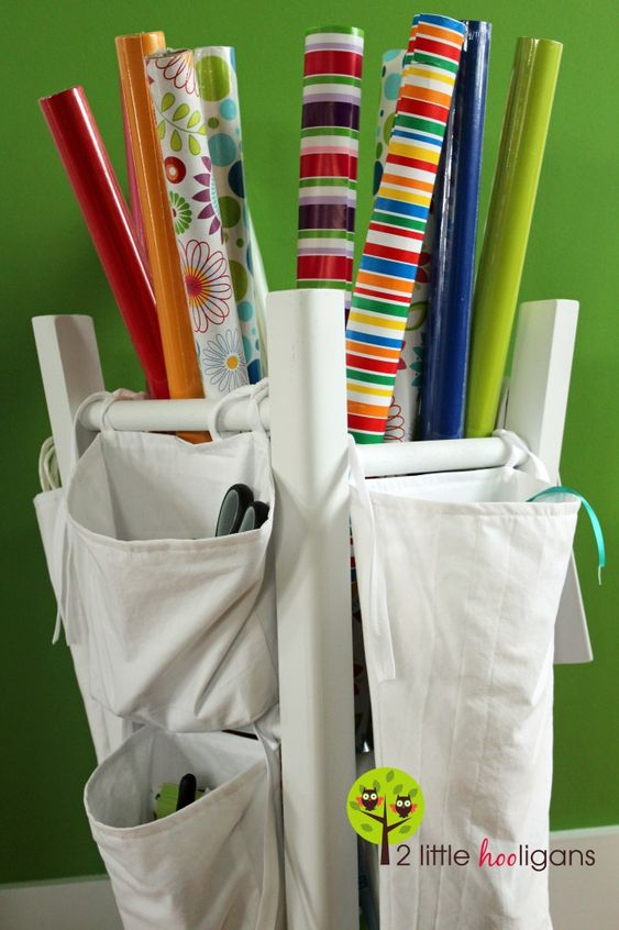 wrapping paper caddy from an old stool: