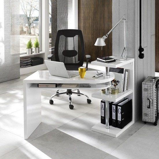 Office Desk In High Gloss White, Stylish Office Furniture Sydney