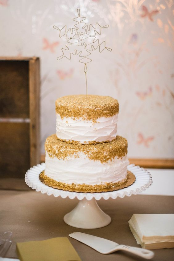 Gold-Topped White Buttercream Wedding Cake | Cindy Lee Photography https://www.theknot.com/marketplace/cindy-lee-photography-ballwin-mo-415643