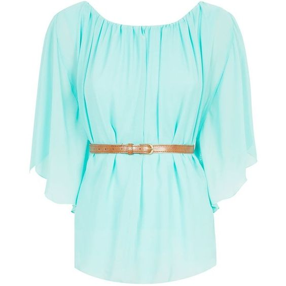 Cameo Rose Mint Green Wide Sleeve Belted Top ($14) ❤ liked on Polyvore featuring tops, blouses, shirts, mint green, blue blouse, rose blouse, blue waist belt, belted shirt and mint shirt