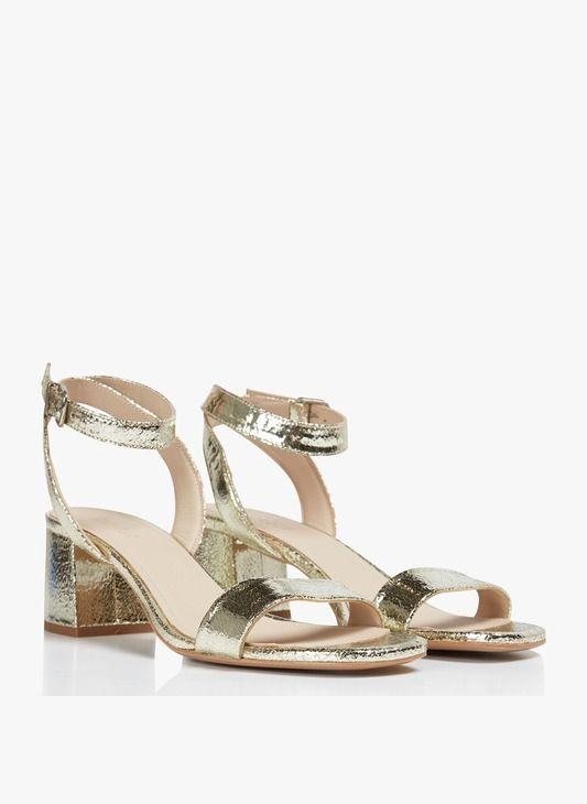 Sandales hautes à talon dorée en cuir Doré by CLAUDIE