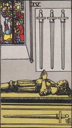 4 Of Swords:Work: This is a great time to take some time off from work if you can (even a long weekend.) you need a break and some perspective. Things are not likely to be going as you would like them to do - don't take this personally or try to push harder. Sometimes we just need to be patient with the process. If you can't stand the need for patience, perhaps the time has come to start looking for another position.Source: psychic-revelation card meaning/Rider-Waite Tarot Card: