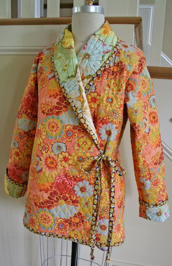 Cozy Quilted Coat – IJ871 sewing pattern from IndygoJunction.com created using Kaffe Fassett's double sided pre-quilted fabric: