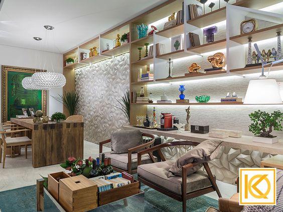 """O """"Refúgio do Benjamin"""" é um espaço com atmosfera leve e aconchegante, onde o médico, que aprecia as artes se refaz depois de um dia de trabalho. O ambiente apresenta uma espécie de home office com biblioteca e um canto de bate papo e leitura. #ProjetodeArquitetura #Arquitetura #Decor #MostraCasaCor #CasaCorGoias2016 #RefugioDoBenjamim #Studio #Medico #KarlaOliveira #StudioKarlaOliveira #casacor"""