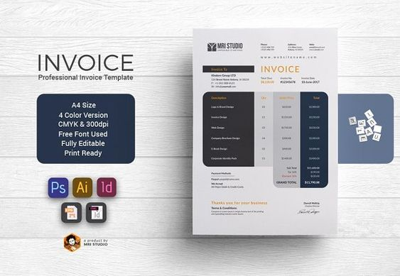 Invoice Template V07 by Template Shop on @creativemarket - shop invoice