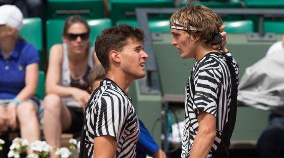 NexGen Duell: Alexander Zverev gegen Dominic Thiem in Roland Garros. Bild © dpa